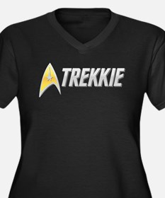 Trekkie Women's Plus Size V-Neck Dark T-Shirt