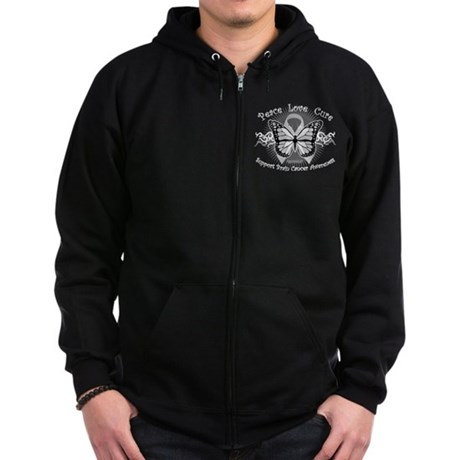 Brain Cancer Tribal Butterfly Zip Hoodie (dark)