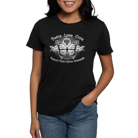 Brain Cancer Tribal Butterfly Women's Dark T-Shirt