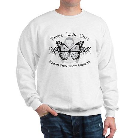 Brain Cancer Tribal Butterfly Sweatshirt