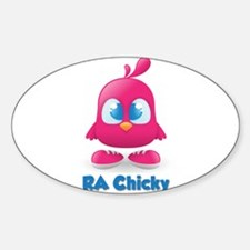 RA Chicks Cute Pink Chicky Sticker (Oval)