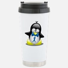 Blue Awareness Ribbon Penguin Travel Mug
