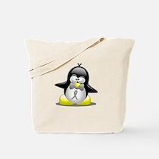 Grey Awareness Ribbon Penguin Tote Bag