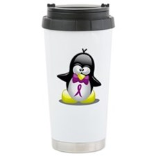 Purple Awareness Ribbon Pengu Travel Mug