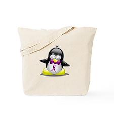 Purple Awareness Ribbon Pengu Tote Bag