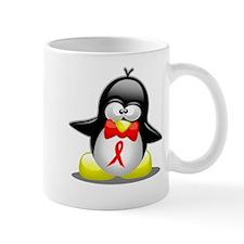 Red Awareness Ribbon Penguin Mug