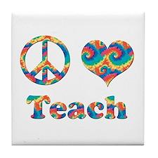 Cute Peace love teaching Tile Coaster