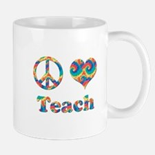 2-peace love teach copy Mugs