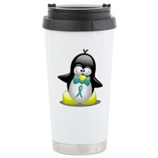 Teal Awareness Ribbon Penguin Travel Mug