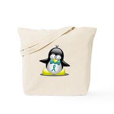 Teal Awareness Ribbon Penguin Tote Bag