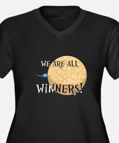 We Are All Winners Women's Plus Size V-Neck Dark T