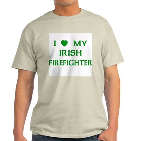 Love My Irish Firefighter Ash Grey T-Shirt