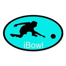 iBowl Light Blue Oval Decal