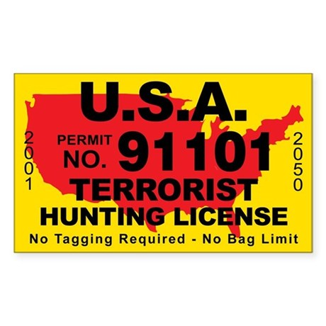 U.S.A. Terrorist Hunting License Sticker