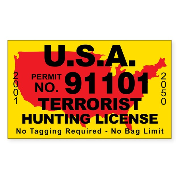 U s a terrorist hunting license decal by cafestickers for How much are fishing license