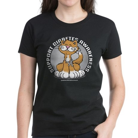 Diabetes Awareness Cat Women's Dark T-Shirt