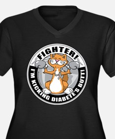 Diabetes Fighter Cat Women's Plus Size V-Neck Dark