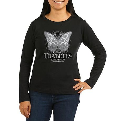 Diabetes Butterfly Women's Long Sleeve Dark T-Shir