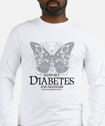 Diabetes Butterfly Long Sleeve T-Shirt