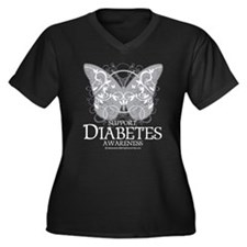 Diabetes Butterfly Women's Plus Size V-Neck Dark T
