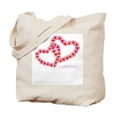 """""""Two Hearts (Pink)"""" Tote Bag"""