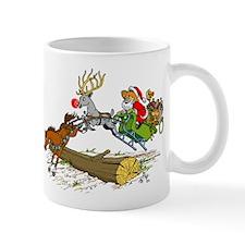 Santa Jumping Log Mug