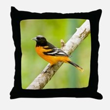 Baltimore Oriole Bird Photo Throw Pillow