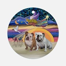 Xmas Star-Two English Bulldogs Ornament (Round)