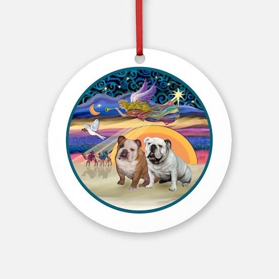 Xmas Star-Two English Bulldogs Ornament (Round)