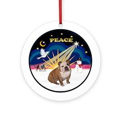 Xmas Sunrise - English Bulldog 2 Ornament (Round)