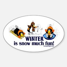 Snow Penguins Sticker (Oval)