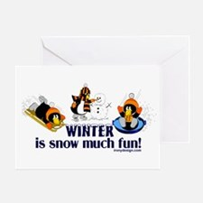 Snow Penguins Greeting Card