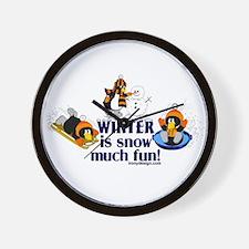 Snow Penguins Wall Clock