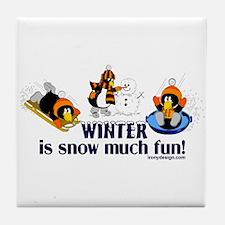 Snow Penguins Tile Coaster