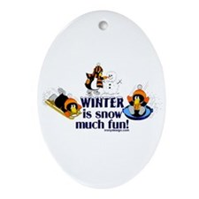 Snow Penguins Ornament (Oval)