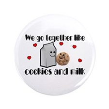 """Cookies And Milk 3.5"""" Button"""