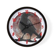 ravens stuff's raven moon Custom Wall Clock