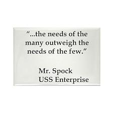 Star Trek Spock Quote Rectangle Magnet