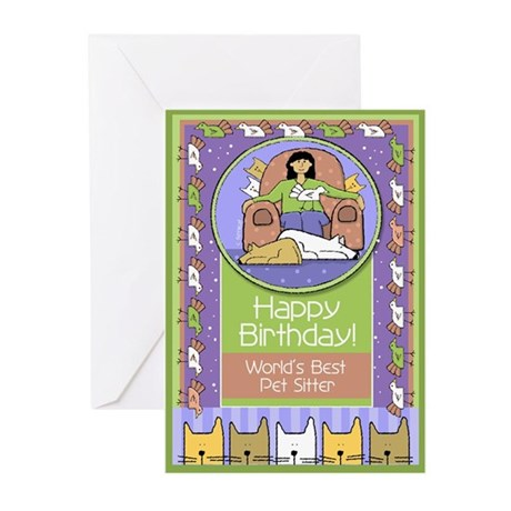 Happy Birthday Pet Sitter Greeting Cards (Pk of 20