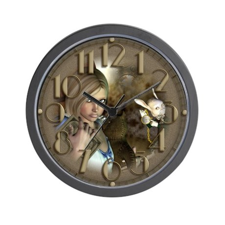 Alice and The White Rabbit Wall Clock