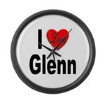 I Love Glenn Large Wall Clock