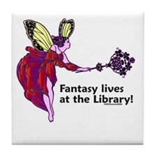 Fantasy lives at the Library! Tile Coaster