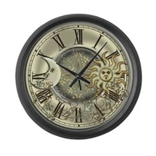 Celestial Sun and Moon Large Wall Clock