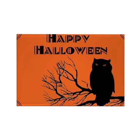 VINTAGE HALLOWEEN OWL Rectangle Magnet
