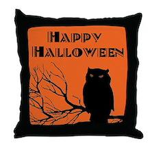 VINTAGE HALLOWEEN OWL Throw Pillow
