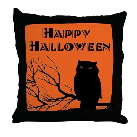 VINTAGE HALLOWEEN OWL Throw Pillow