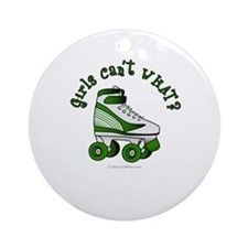 Green Roller Derby Skate Ornament (Round)