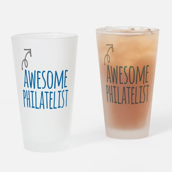 Awesome philatelist Drinking Glass