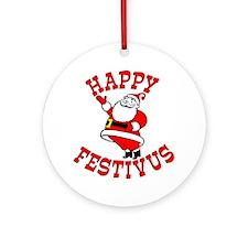 Santa and Festivus Ornament (Round)