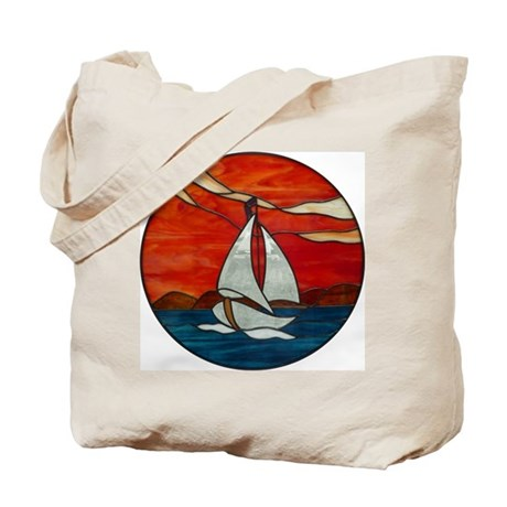 Sailboat at Sunset Stained Glass Design Tote Bag